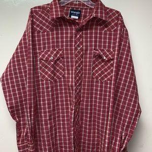 Wrangler Western Shirt Plaid Pearl Snap Buttons XL